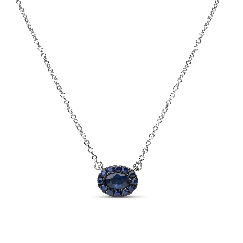 Sapphire Oval Pendant Necklace
