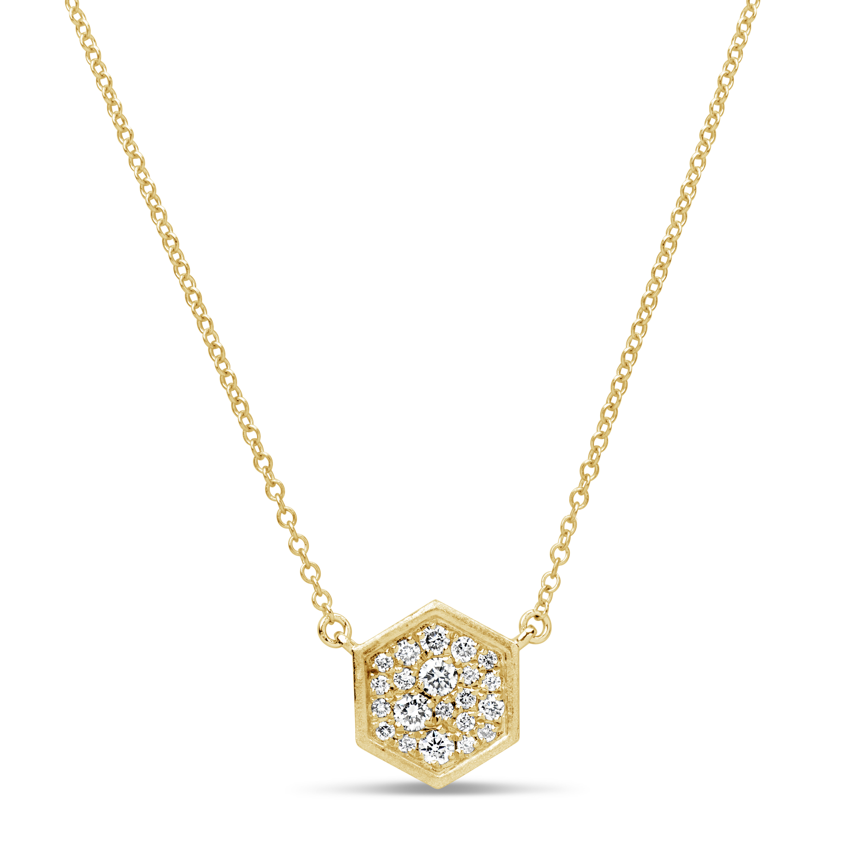 Diamond Honeycomb Pendant Necklace