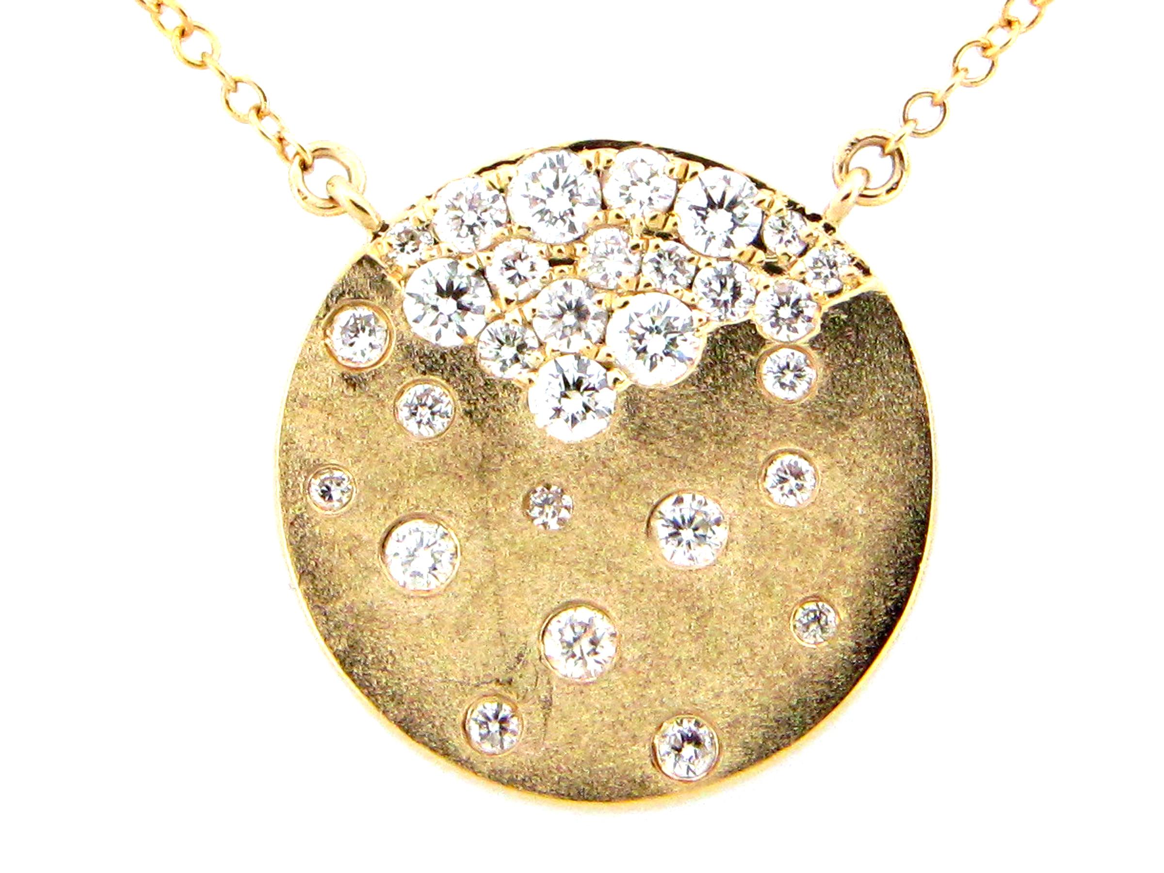 Diamond Disc Pendant Necklace