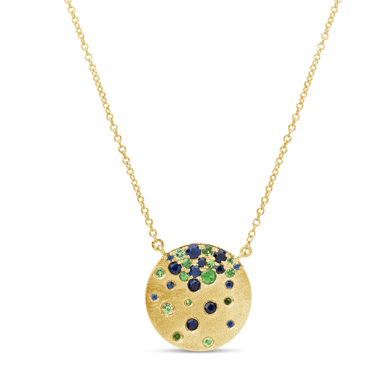 Sapphire & Tsavorite Pendant Necklace