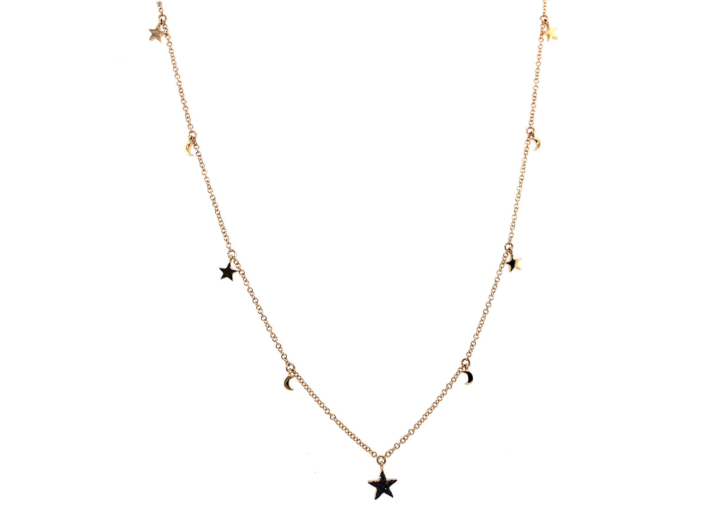 Black Diamond Celestial Charm Necklace