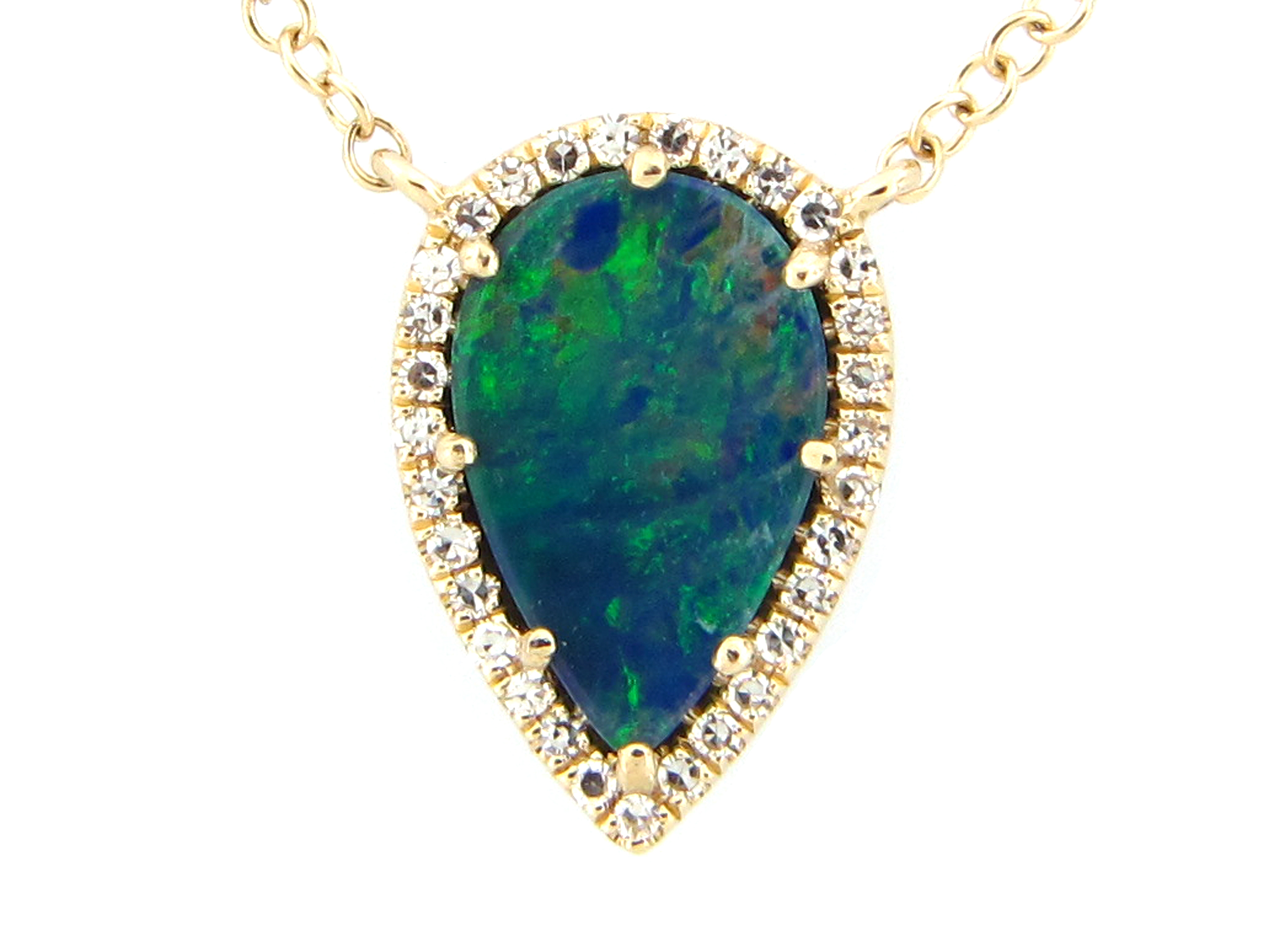 Black Opal & Diamond Pear Necklace