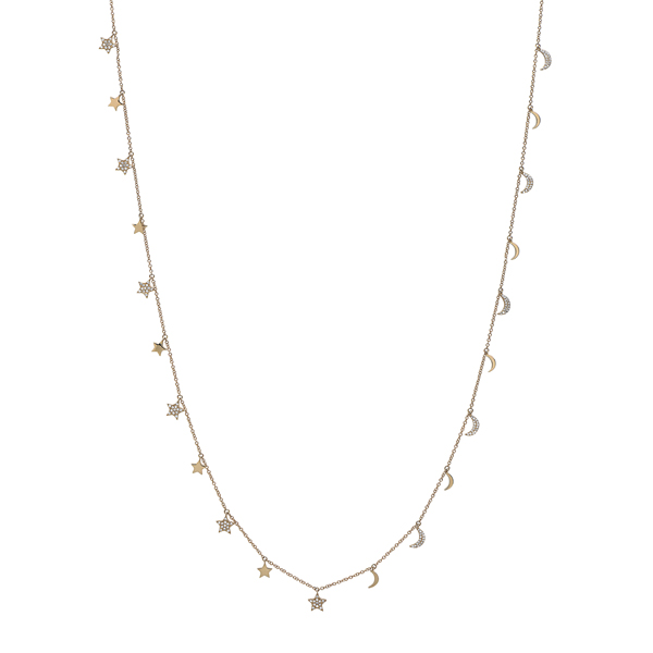 Diamond Stars and Crescent Moon Necklace 32