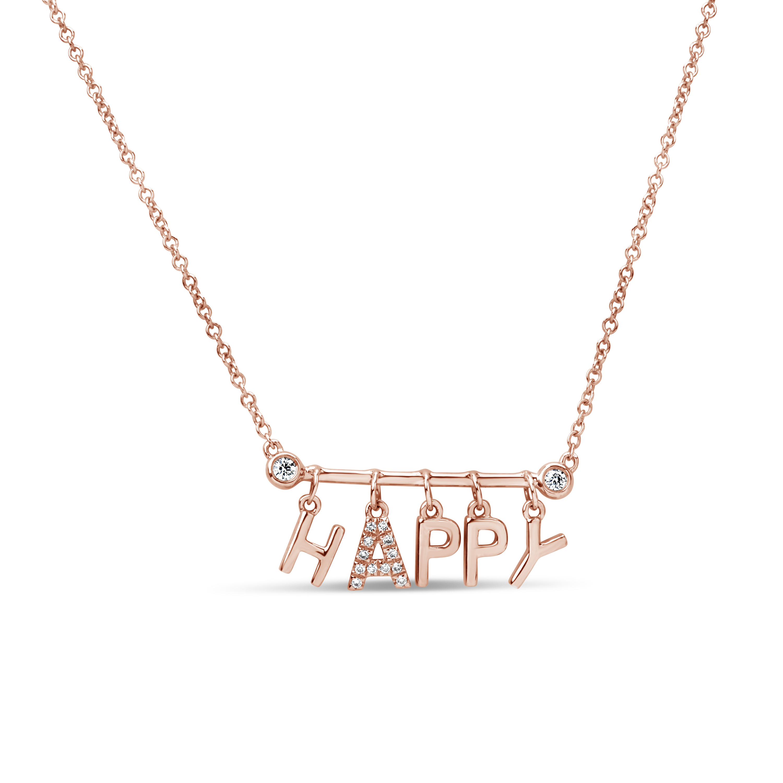 Diamond Happy Bar Pendant Neckalce