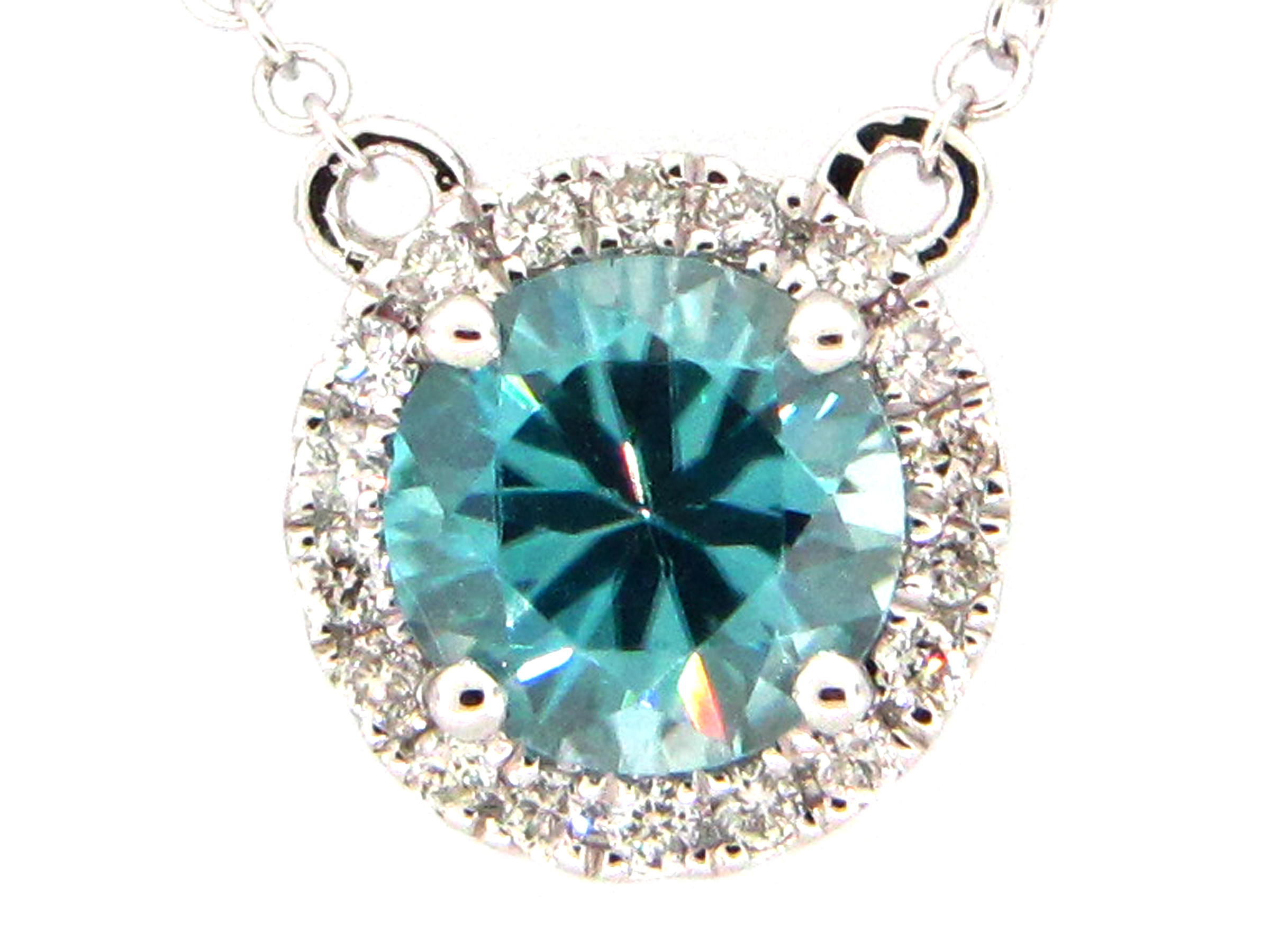 Blue Zircon & Diamond Necklace Pendant