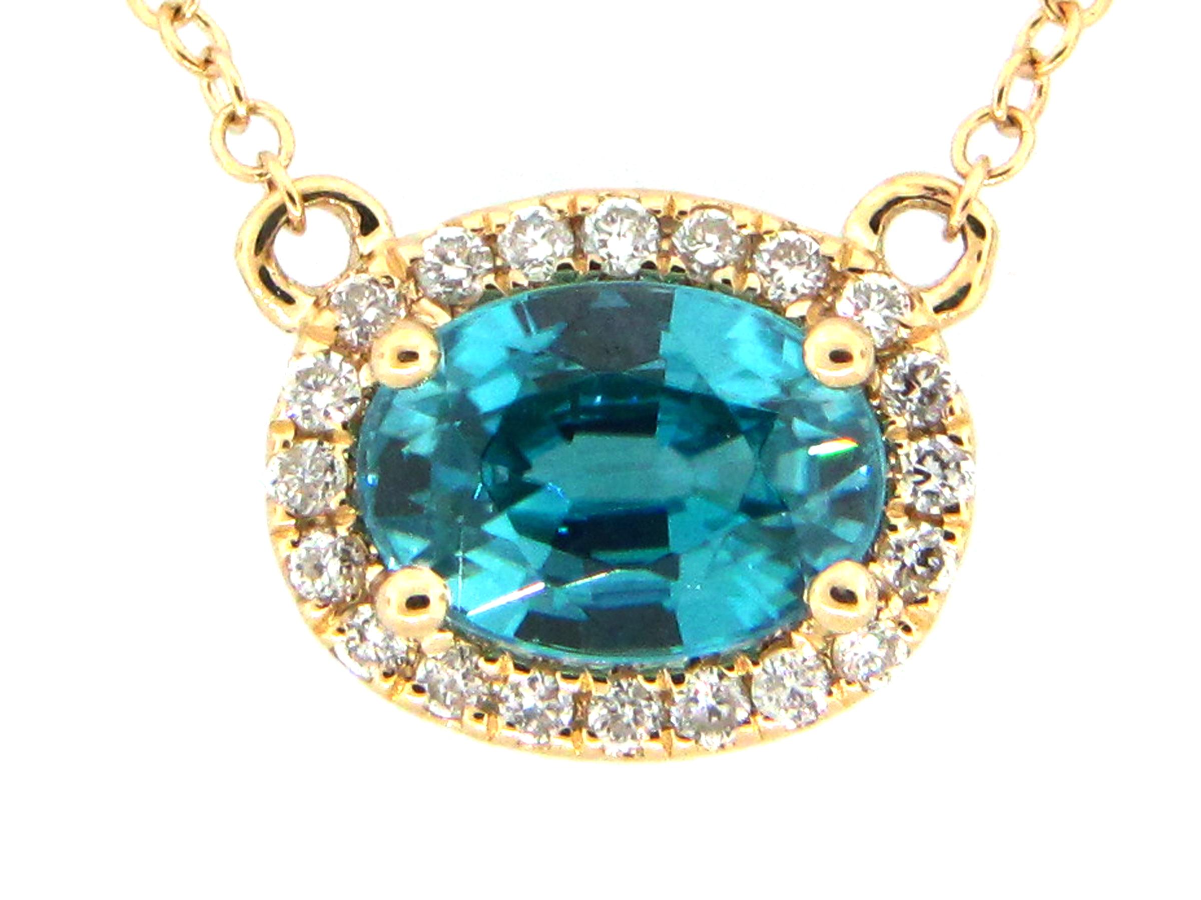 Blue Zircon & Diamond Pendant Necklace