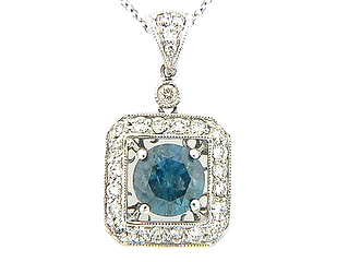 Irradiated Blue Diamond Center Art Deco Pendant