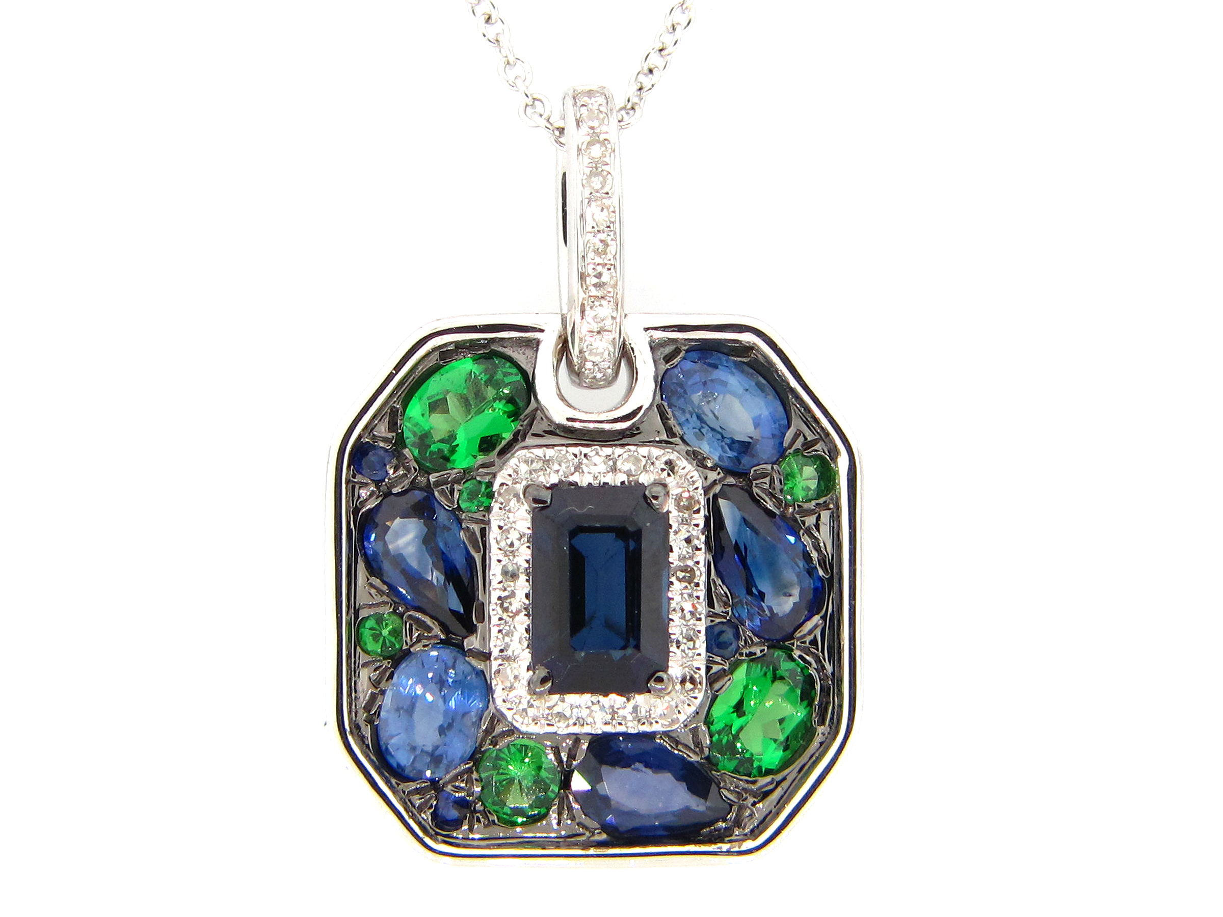 Mixed Gem & Diamond Pendant