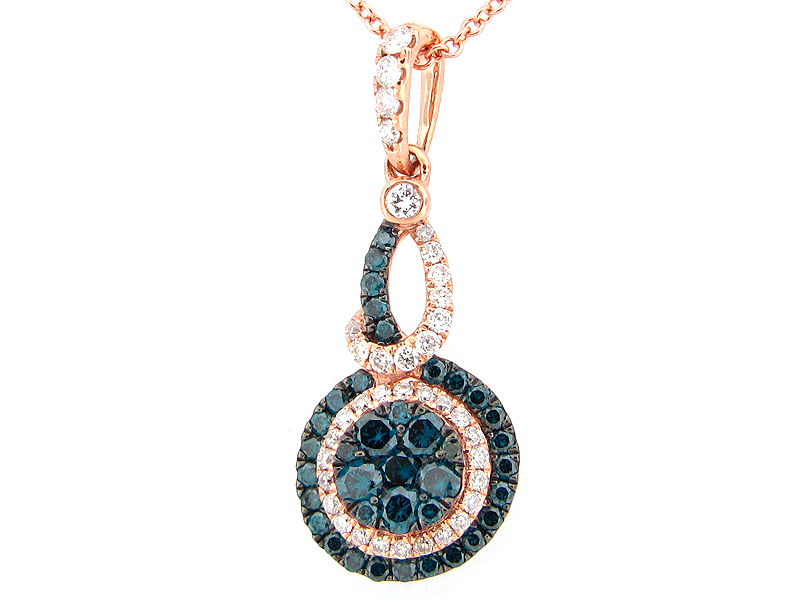 Irradiated Blue & White Diamond Pendant