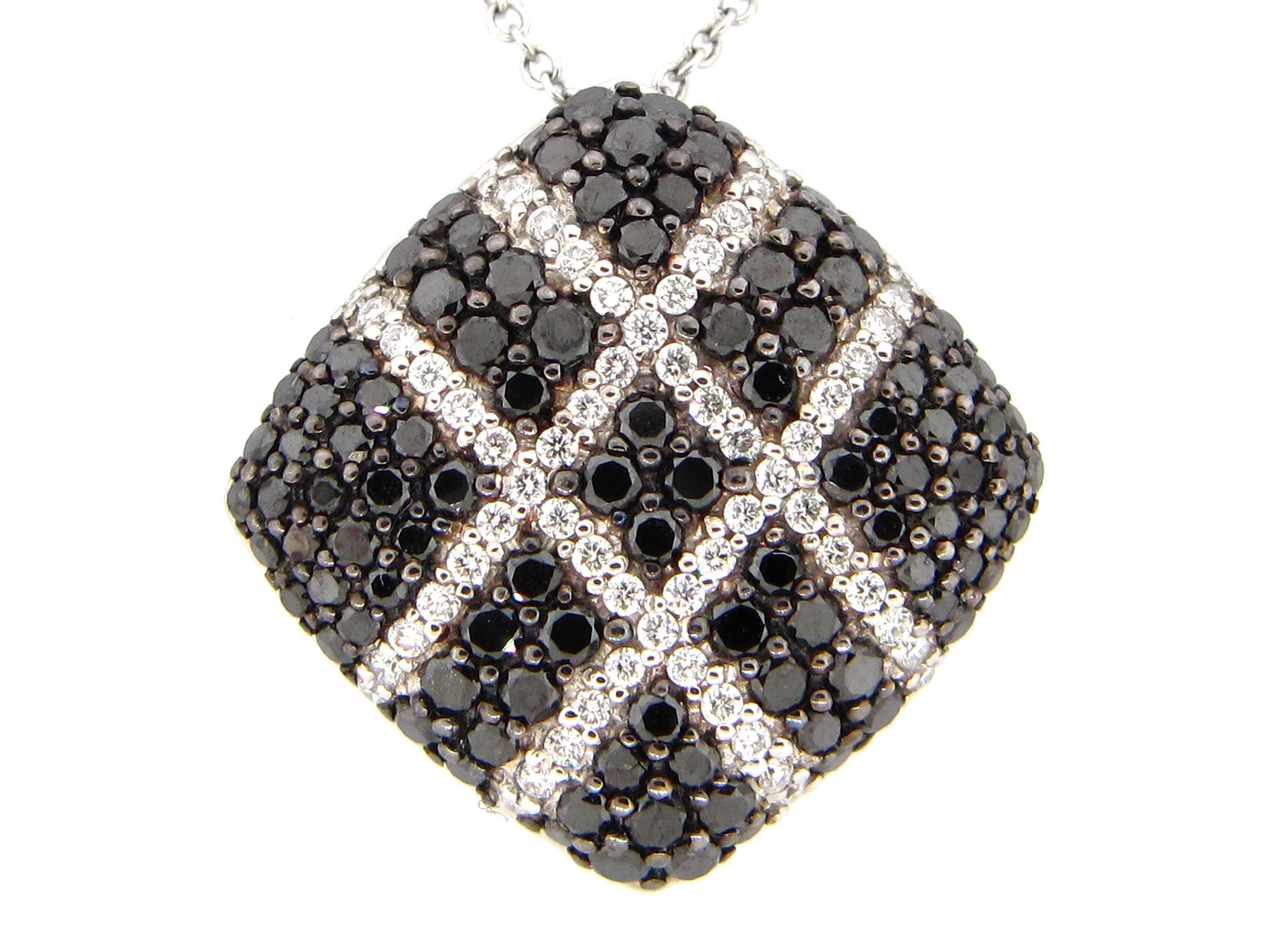 Black & White Diamond Pave Cross Hash Cushion Pendant