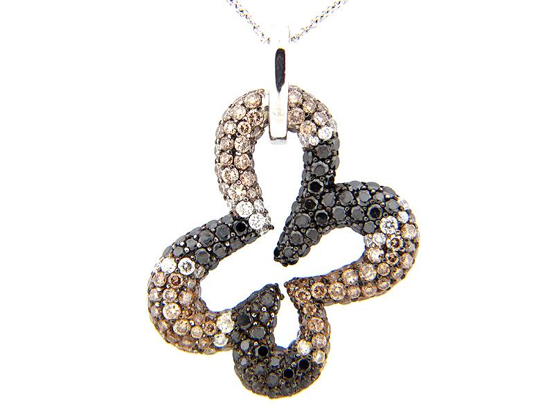 Black Brown & White Diamond Pave Open Clover Pendant