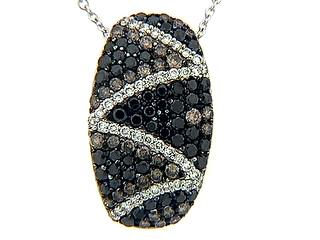 Black Brown & White Diamond Zig Zag Pave Pendant