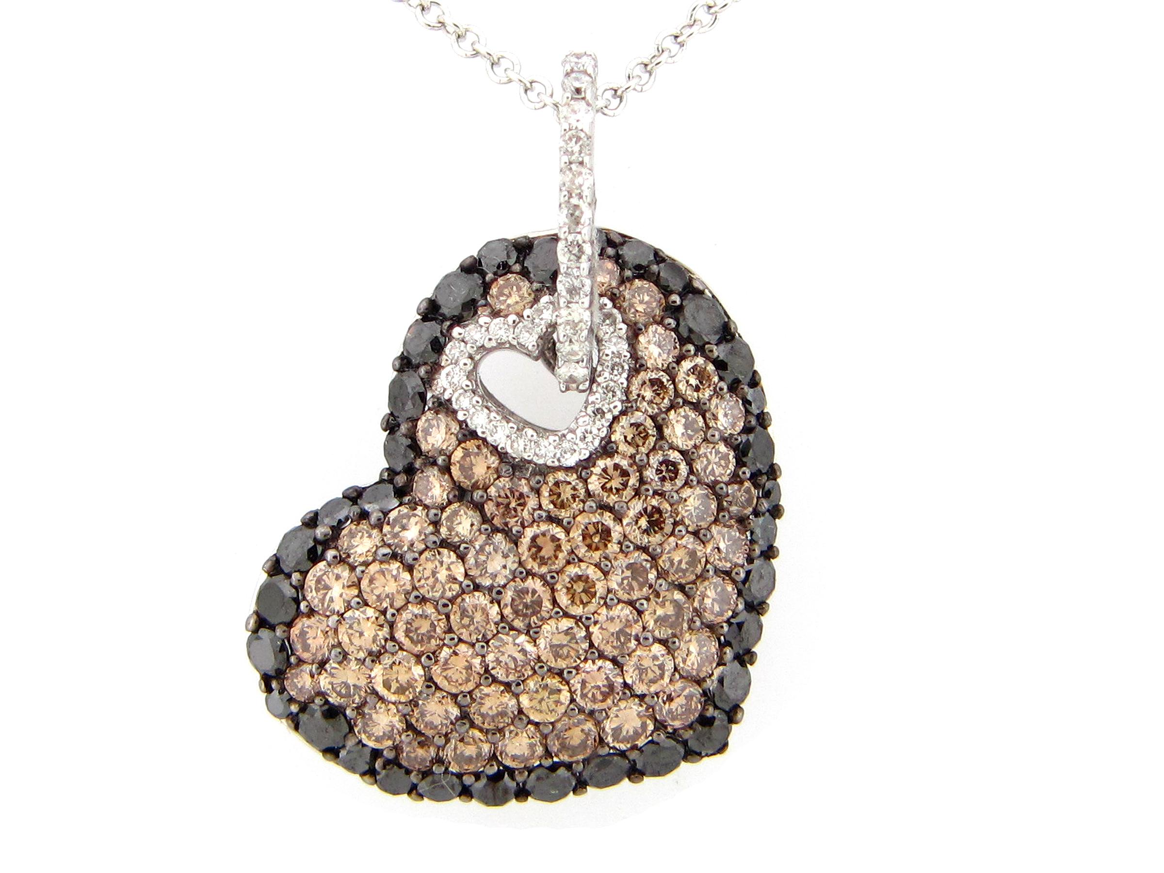 Brown Black & White Diamond Heart Pendant
