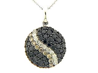 Black Brown & White Diamond Pave Stripe Round Pendant