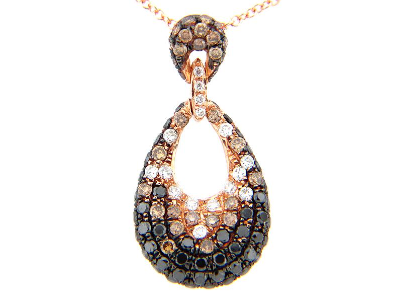 Black Brown & White Diamond Pave Pear Pendant