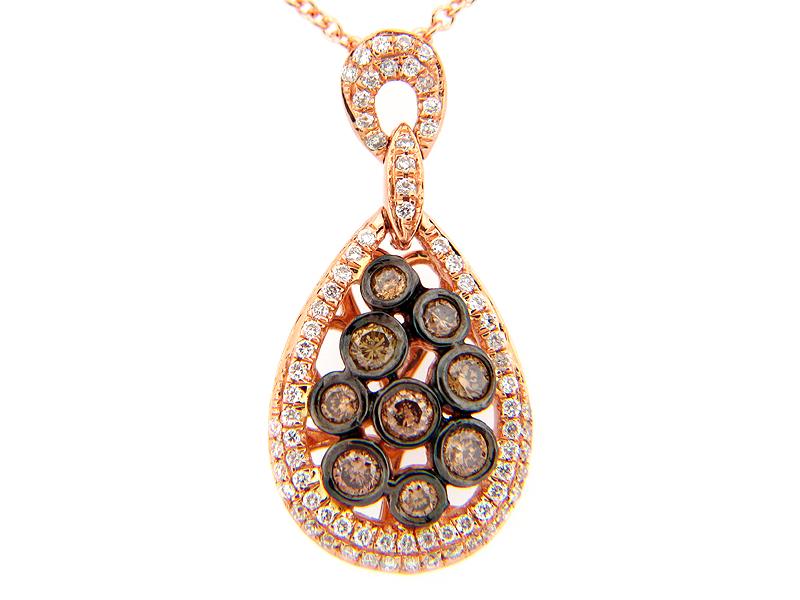 Brown & White Diamond Bezel Cluster Pear Pendant