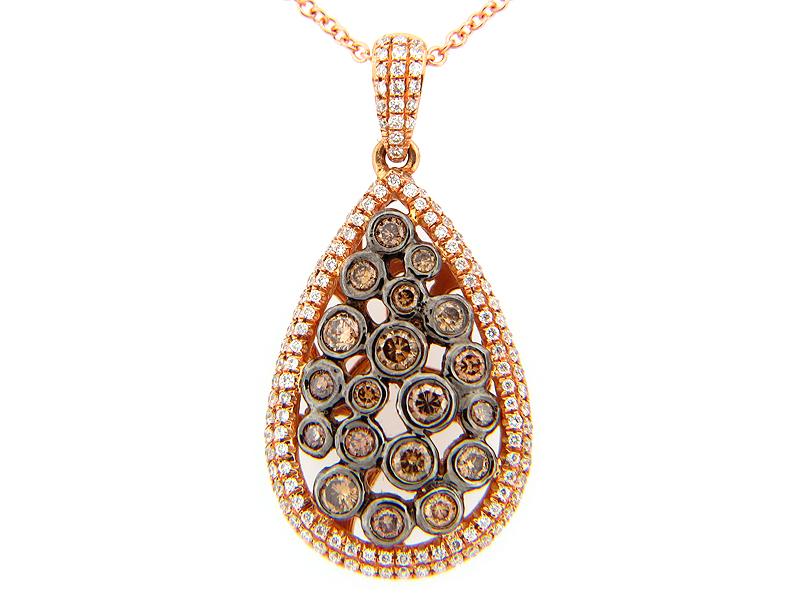 Brown & White Diamond Bezel cluster pear shape pendant