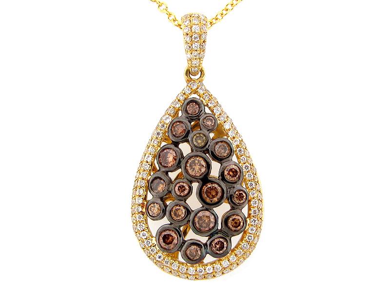 Brown & White Diamond Pear shape pendant