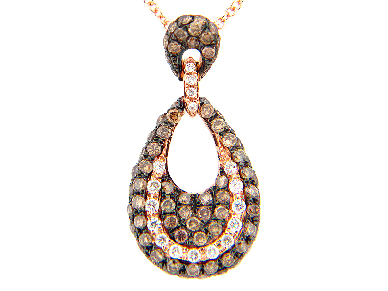 Brown & White Diamond Pear shape Pendant