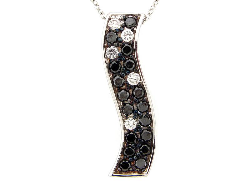 Black & White Diamond Wavy Bar Pendant