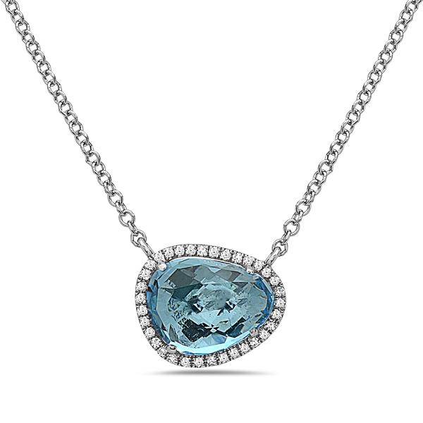 Blue Topaz Diamond Halo Pendant