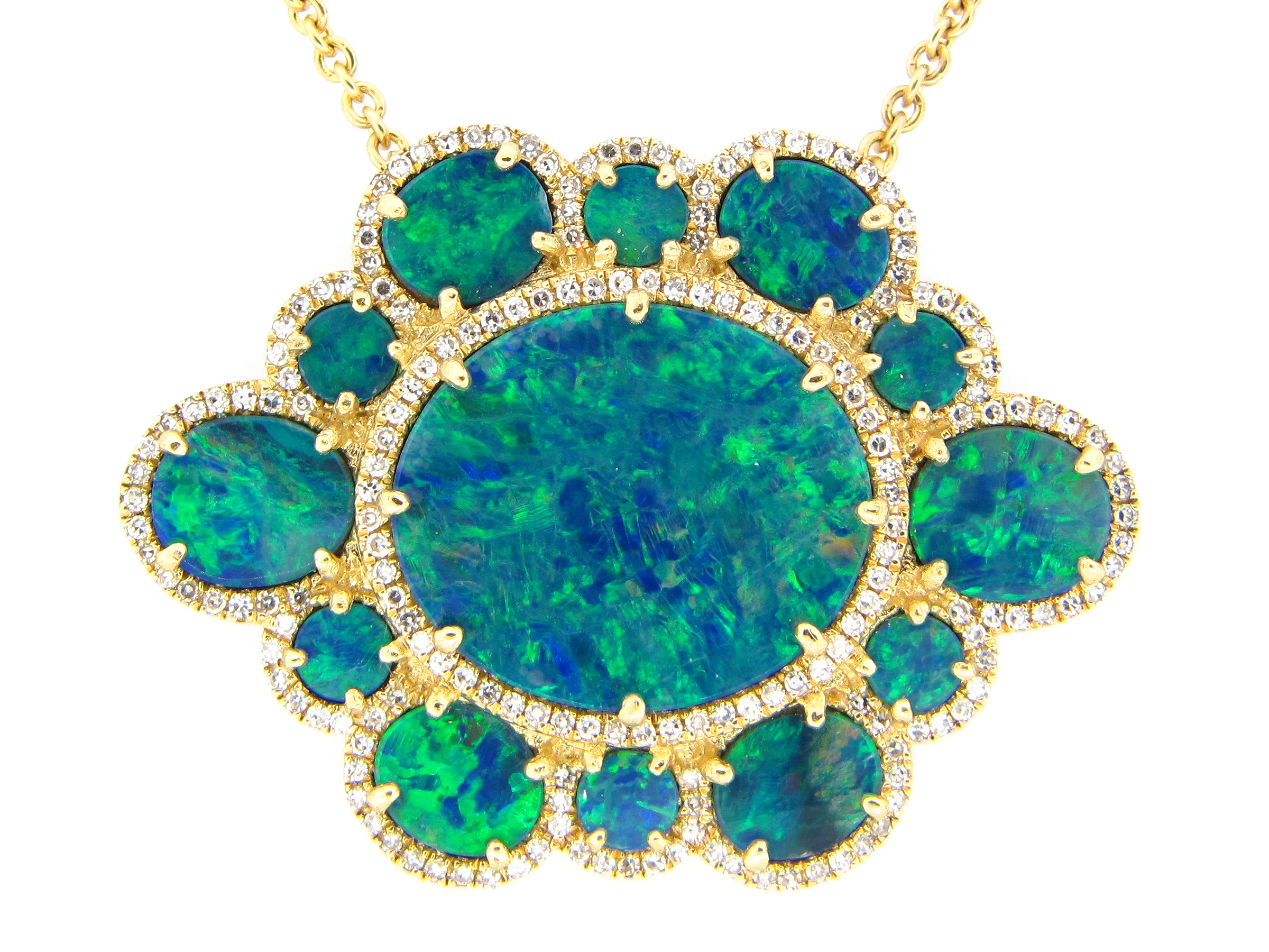 Black Opal & Diamond Pendant Necklace