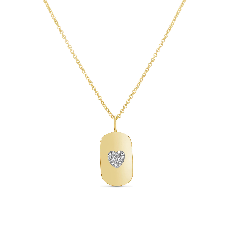 Diamond Heart Dog Tag Pendant
