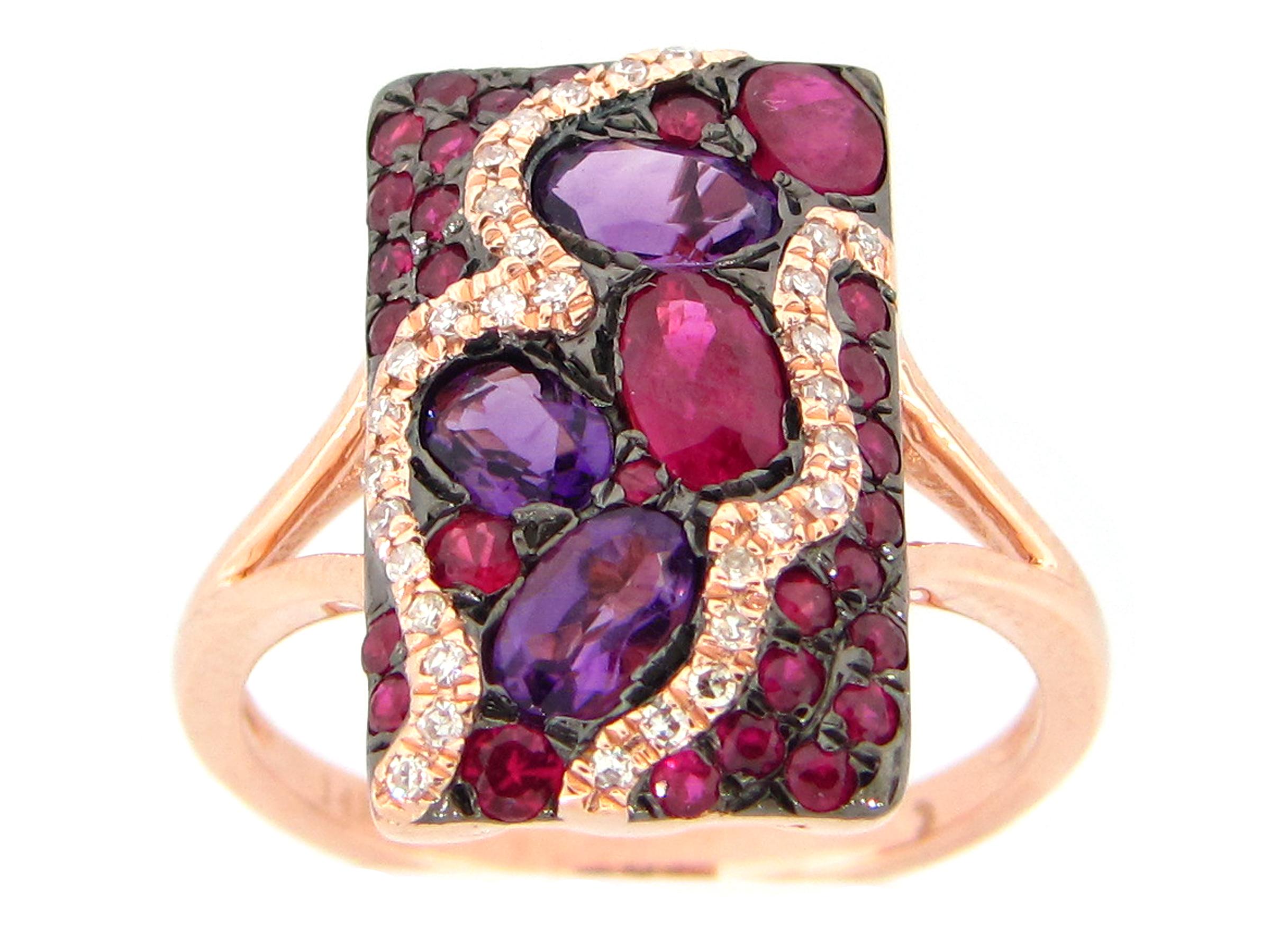 Amethyst, Ruby & Diamond Ring
