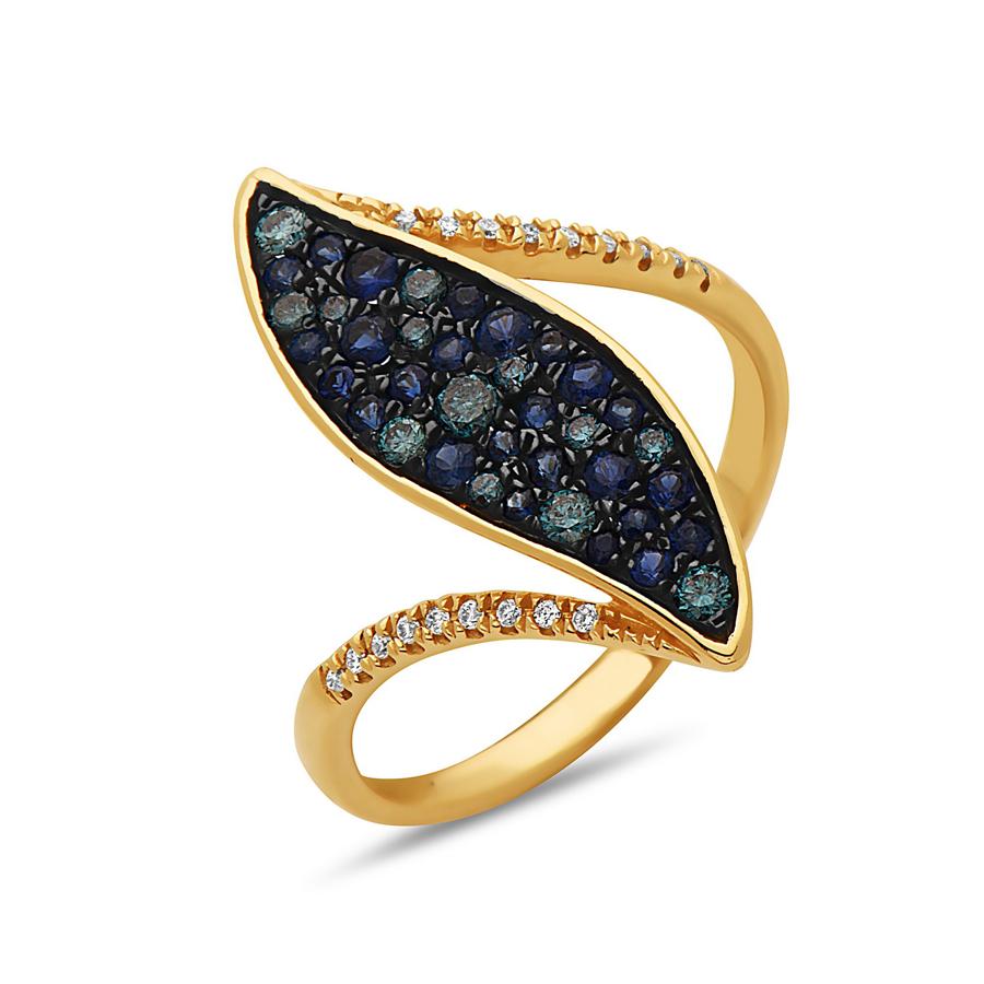 Blue Diamond & Sapphire Ring