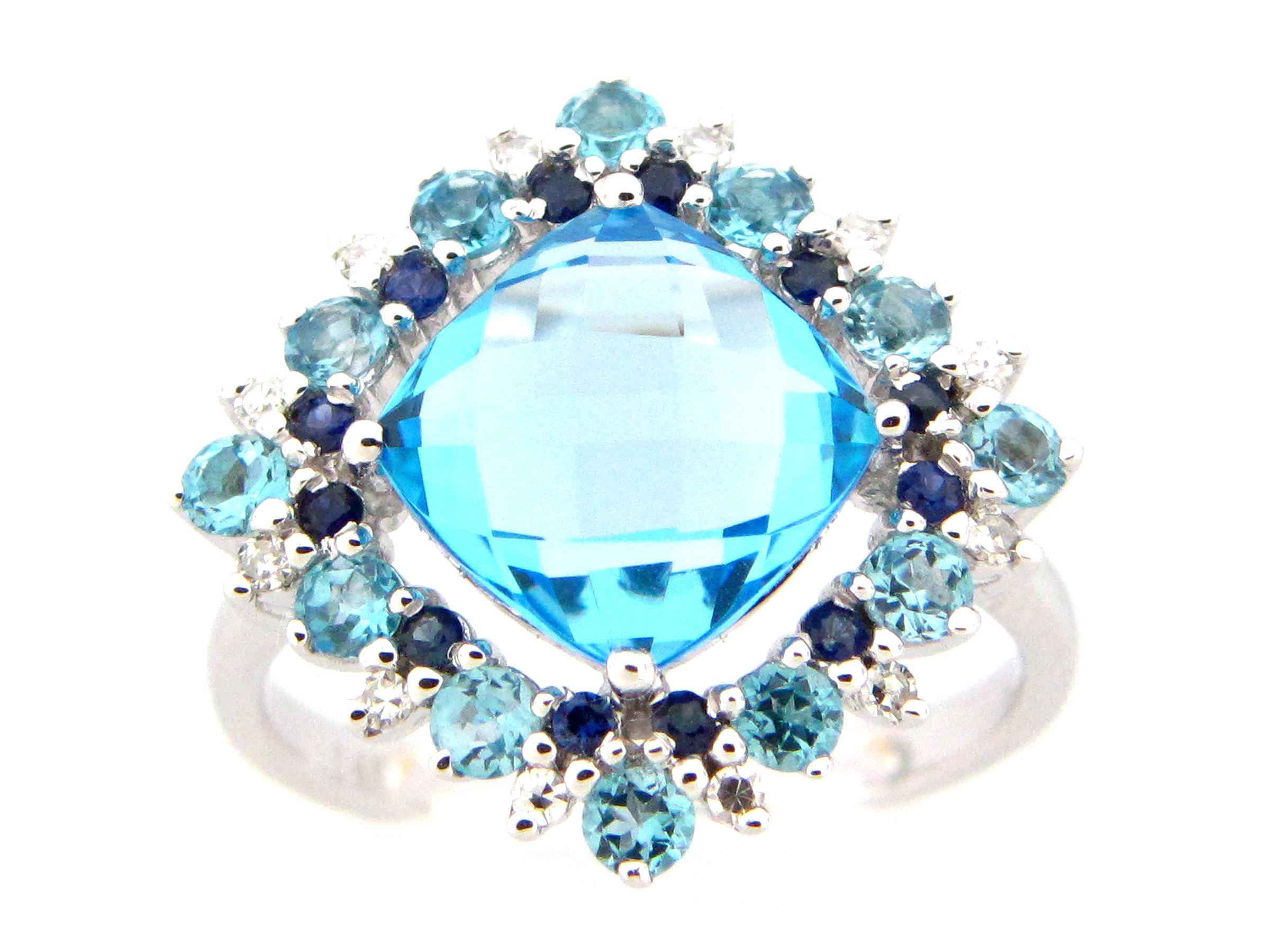 Blue Topaz & Mixed Gem Ring