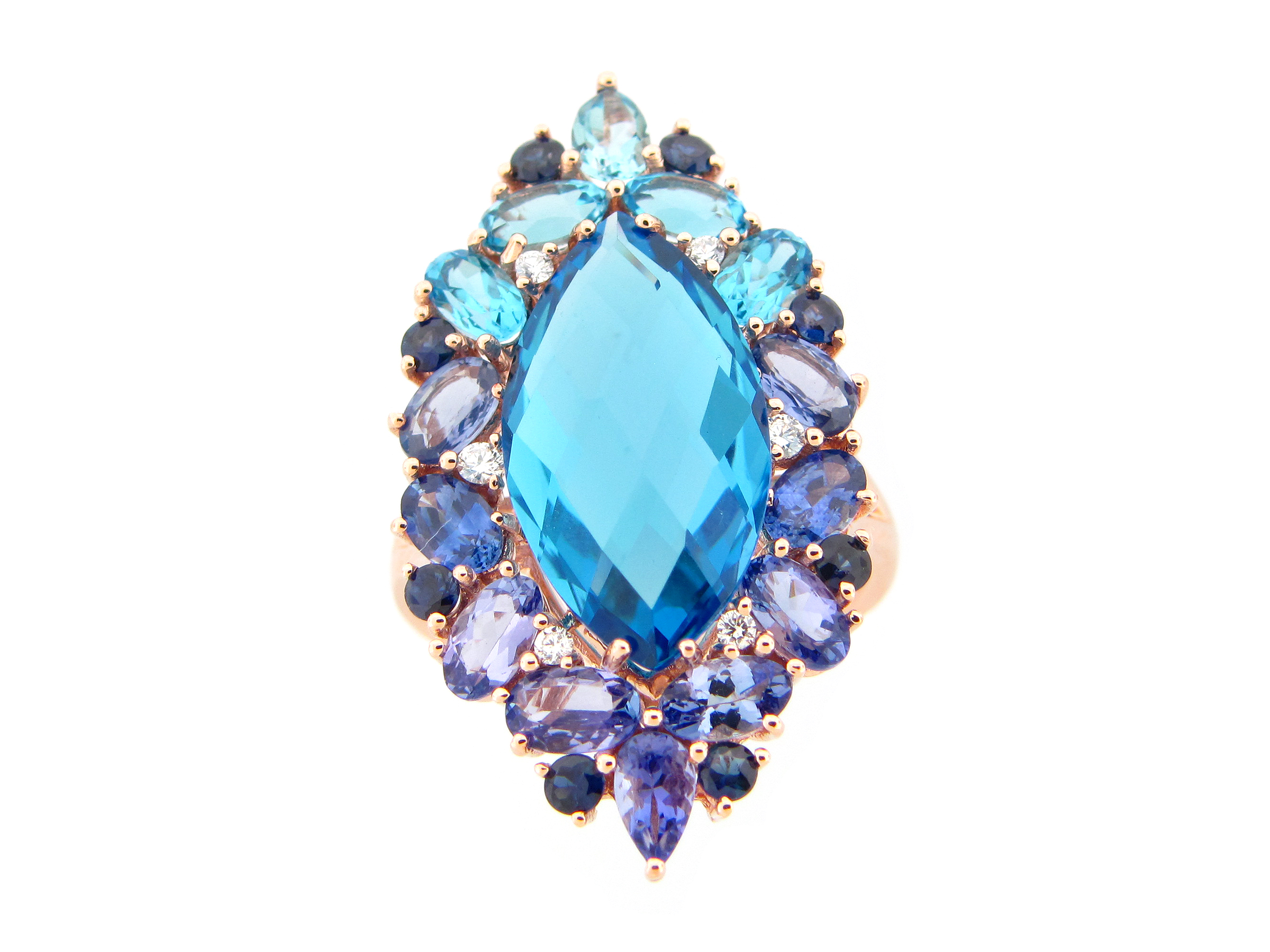 Blue Topaz, Tanzanite, Sapphire & Diamond Marquis Ring