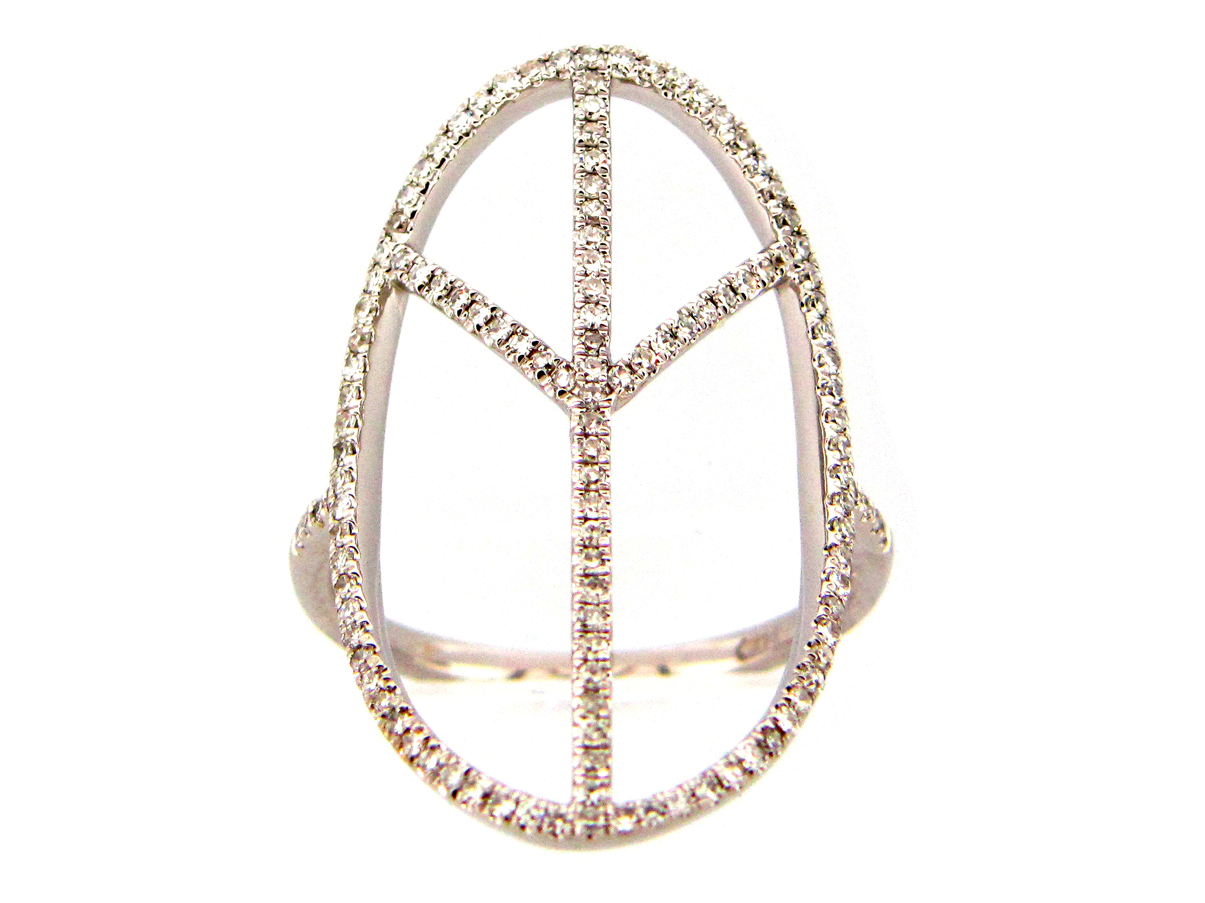 Diamond Oval Peace Ring