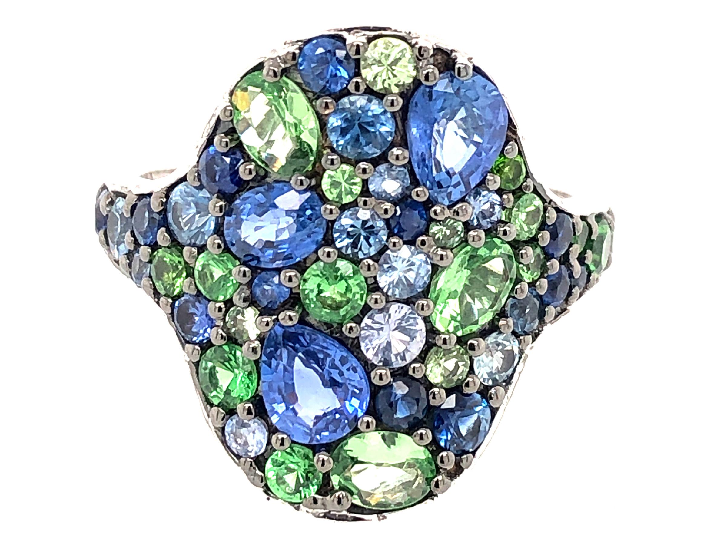 Blue Sapphire & Tsavorite Oval Cluster Ring