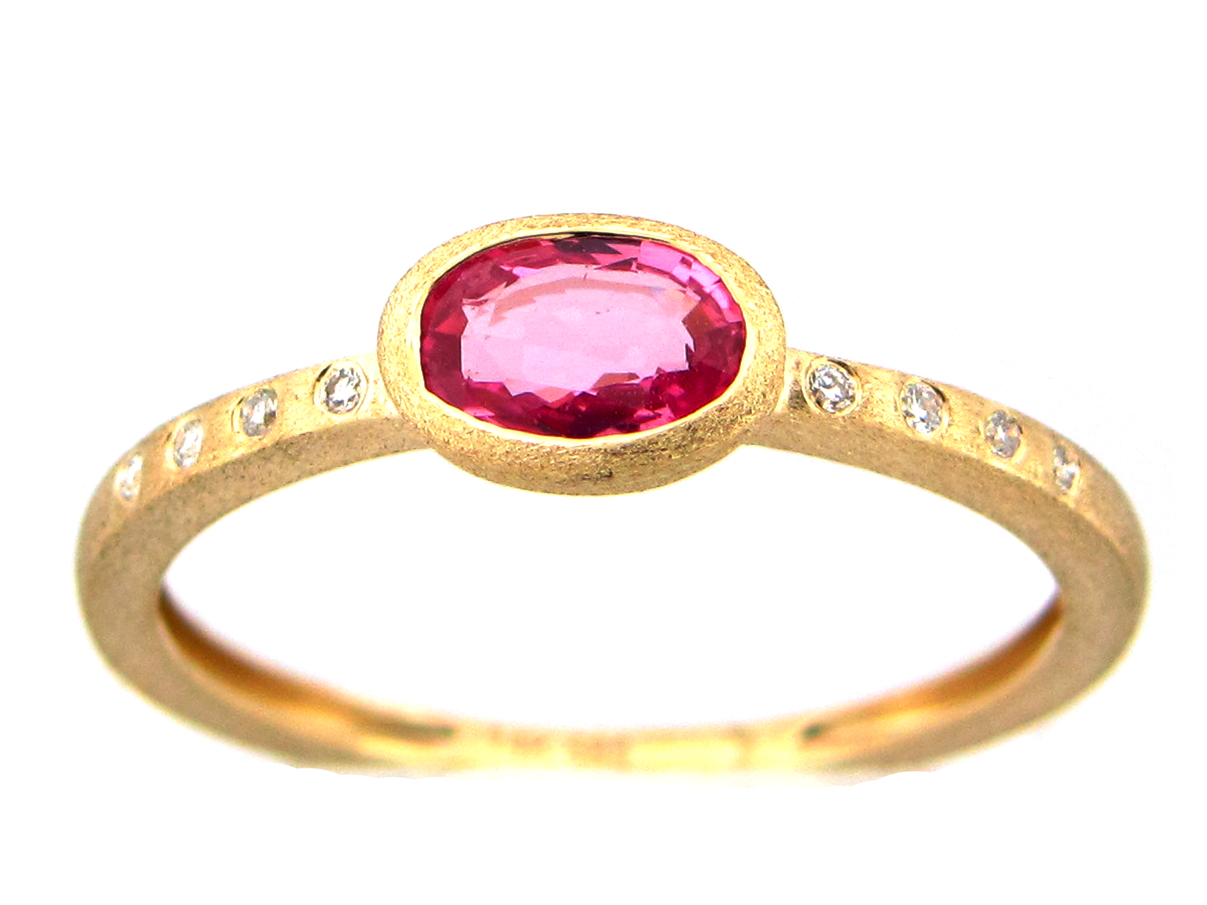 Pink Sapphire Oval Bezel & Diamond Ring