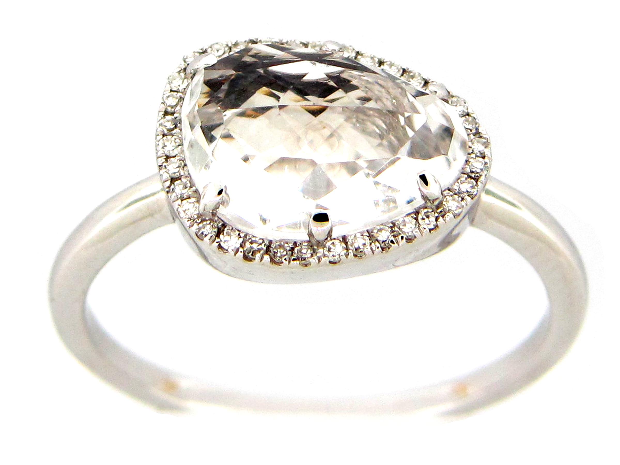 White Topaz & Diamond Ring