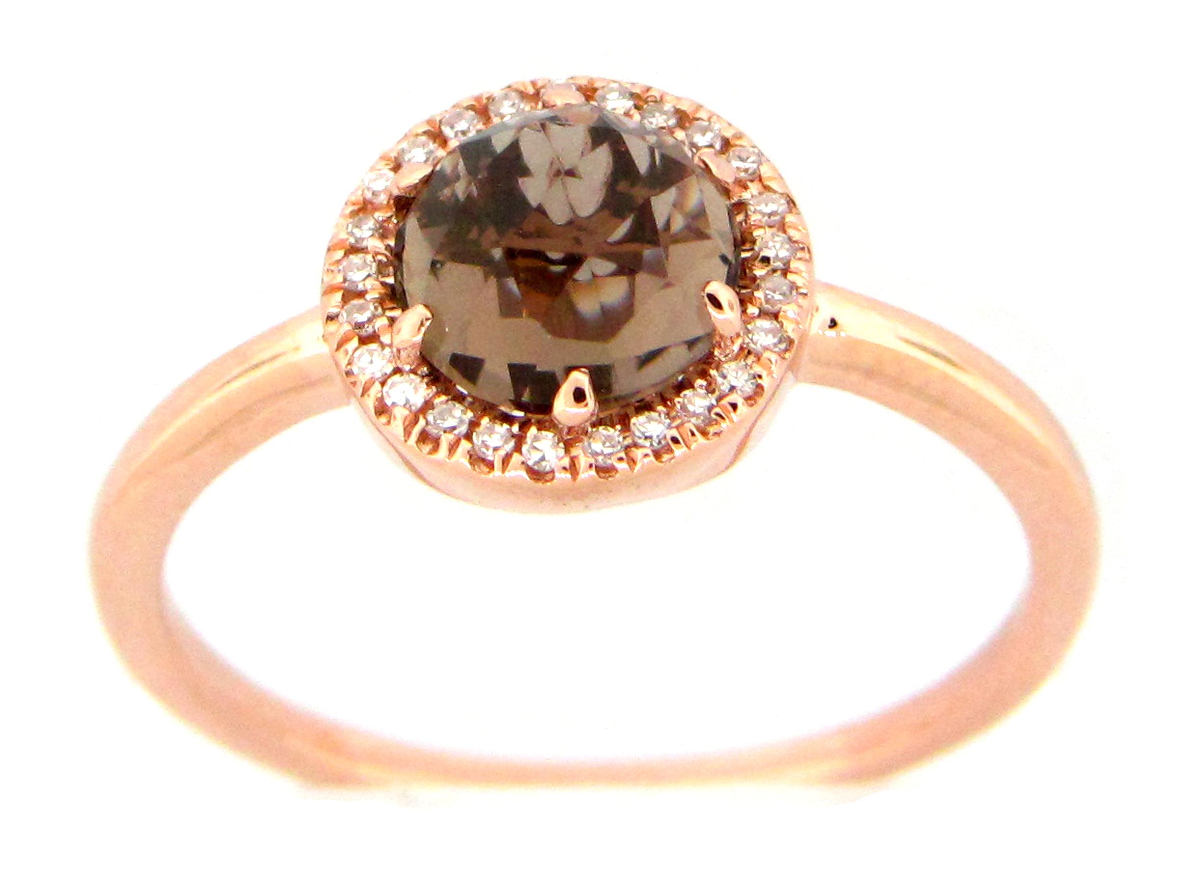 Smokey Quartz & Diamond Halo Ring