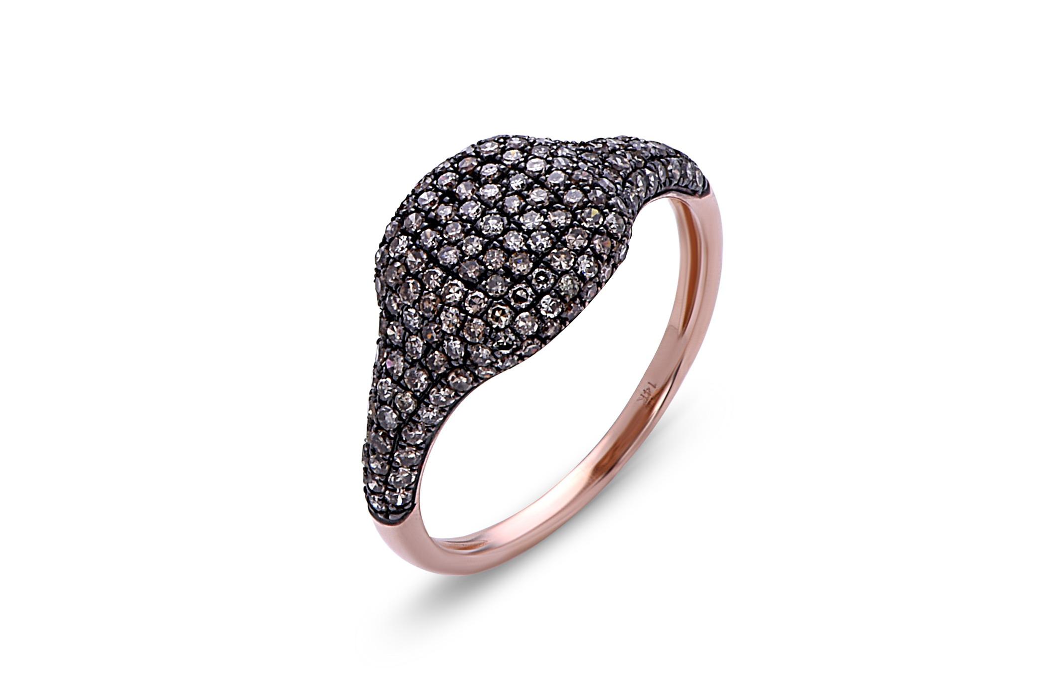 Brown Diamond Cushion Pave Ring