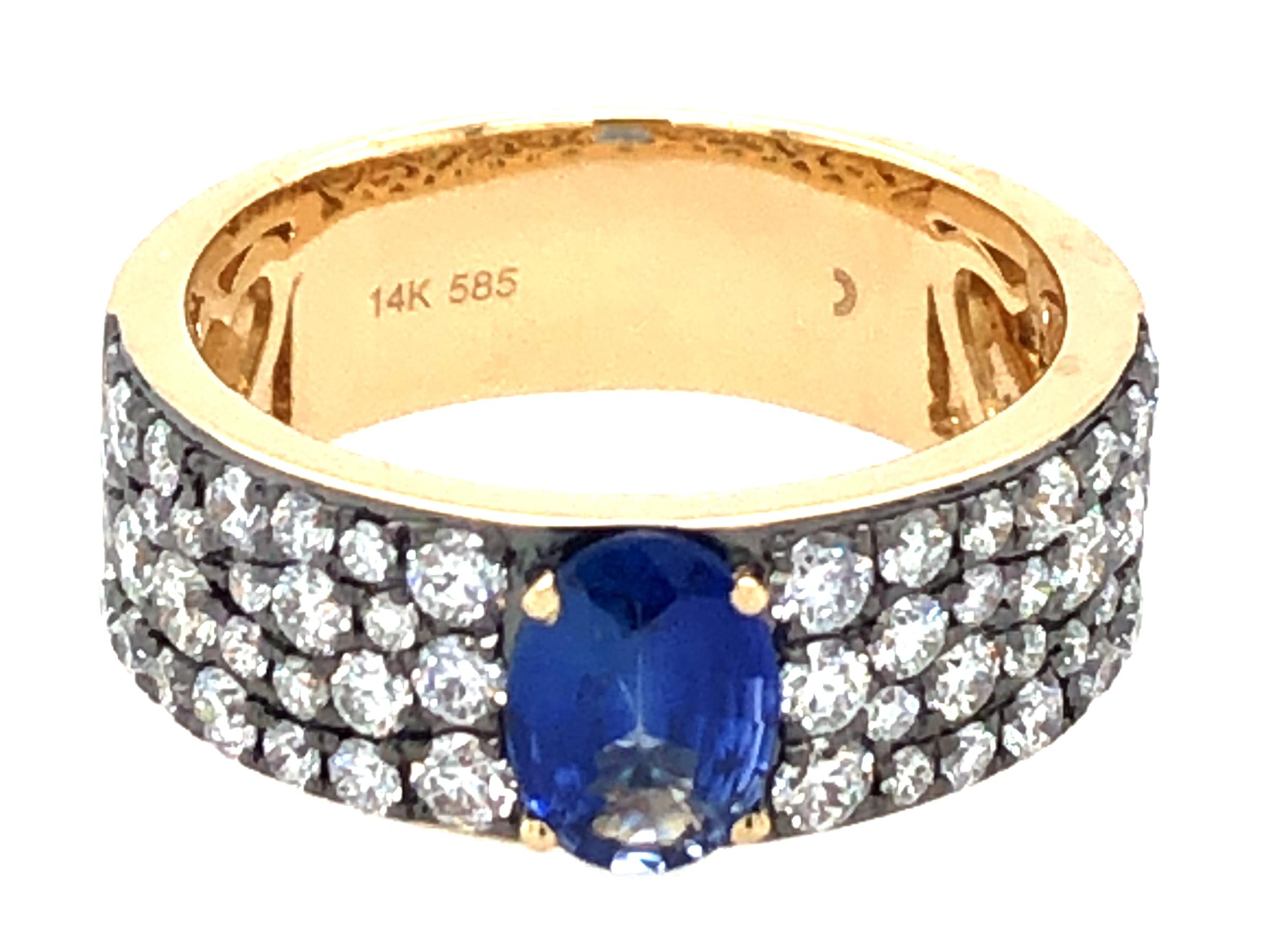 Sapphire Oval & Diamond Ring