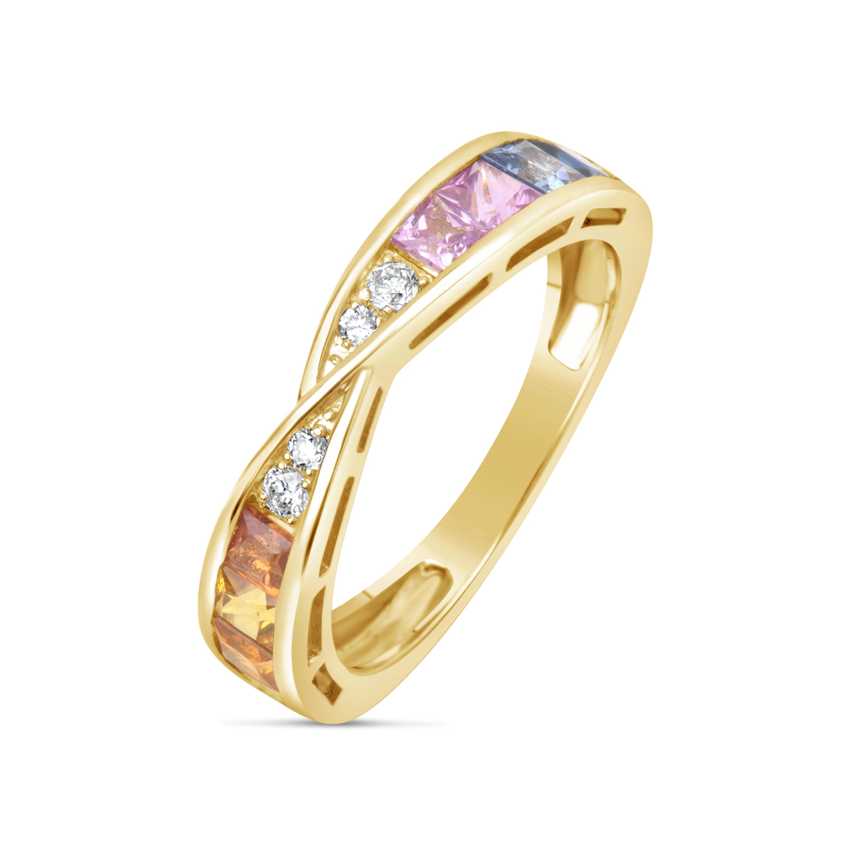 Rainbow Sapphire & Diamond Ring