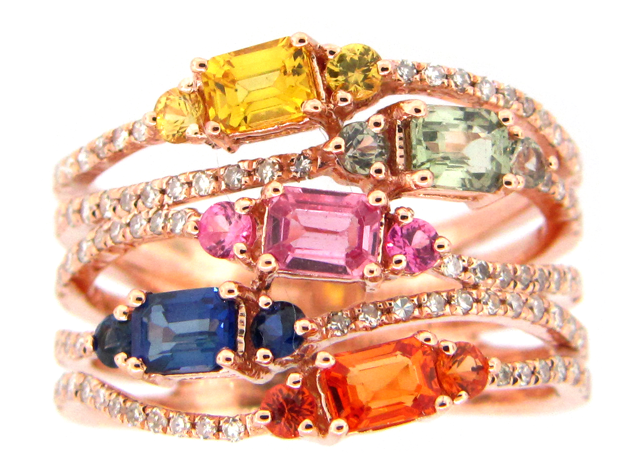 Rainbow Sapphire & Diamond 5 Strand Ring