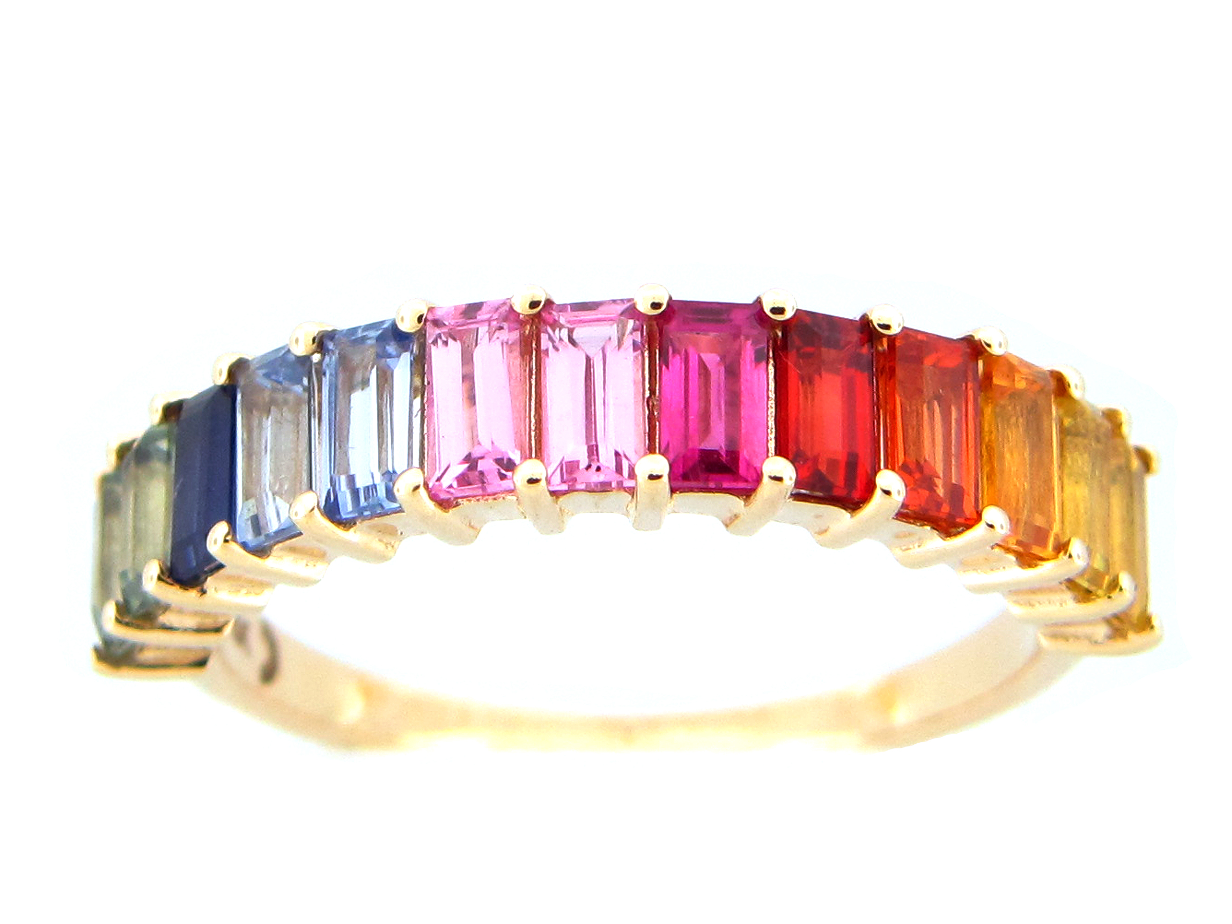 Rainbow Sapphire Baguette Ring