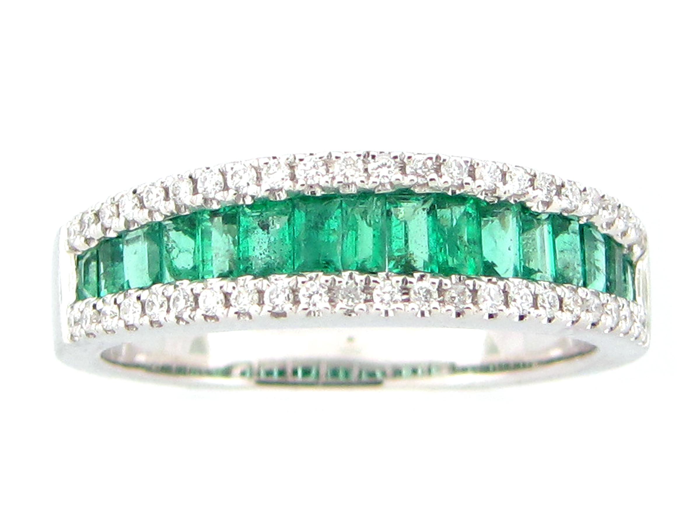 Emerald Baguette & Diamond Band