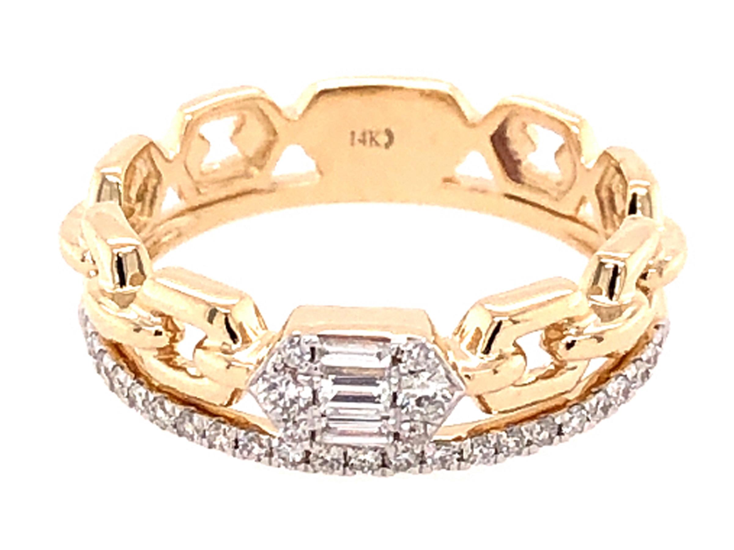Two Row Diamond Link Ring
