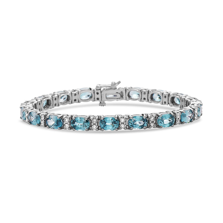 Blue Zircon & Diamond Bracelet
