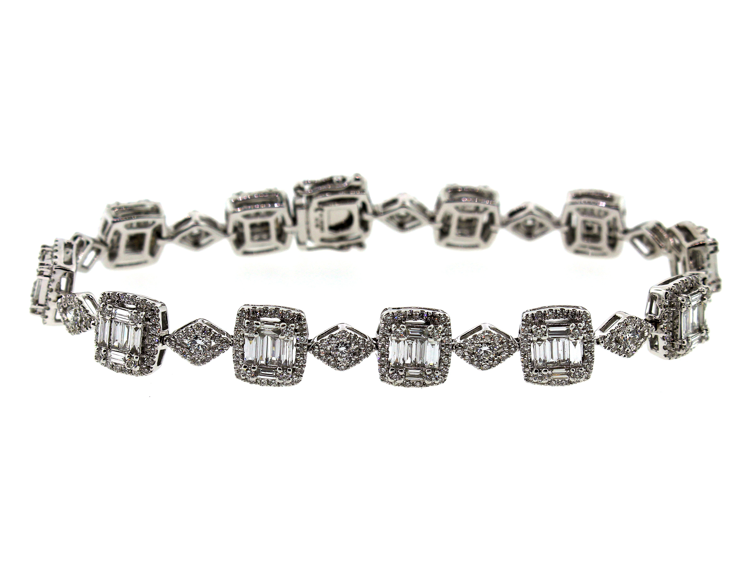 Diamond Baguette and Round Bracelet