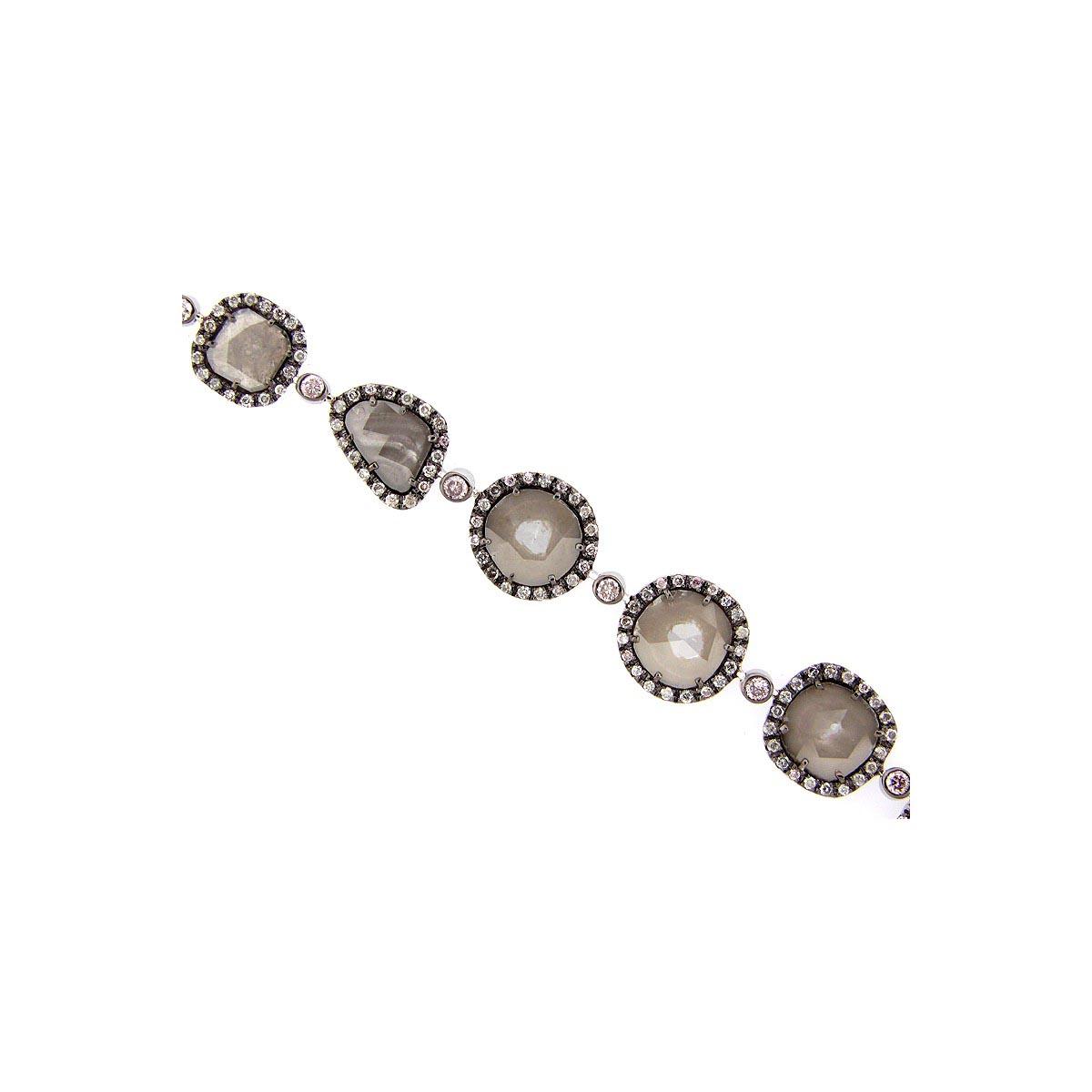 Rose Cut Slice Grey Diamond Bracelet