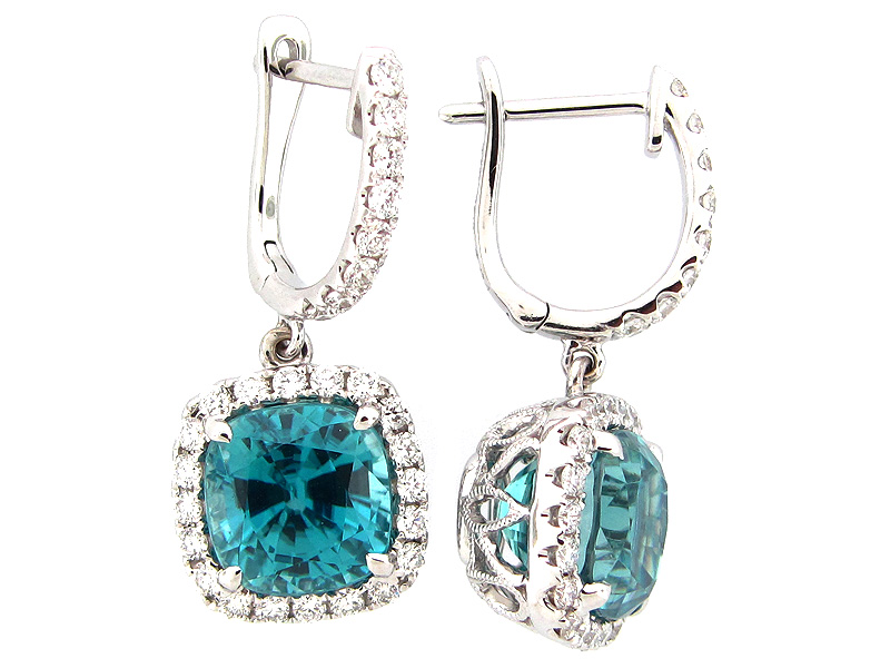 Blue Zircon & Diamond Dangle Earring