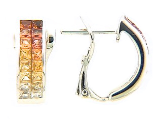 Orange & Yellow Sapphire Graduated 2 Row Invisible Earring