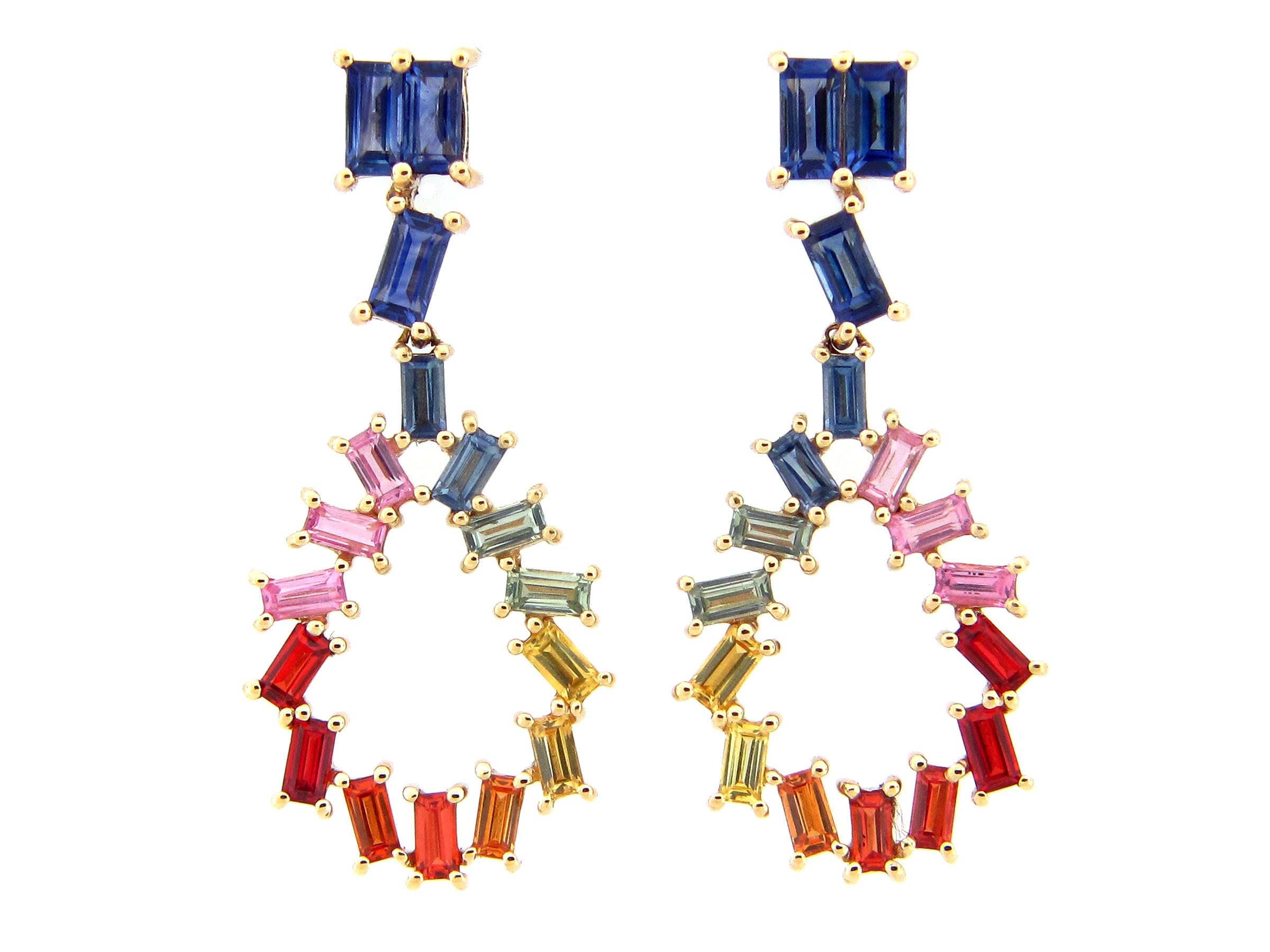 Rainbow Sapphire Baguette Dangle Earring