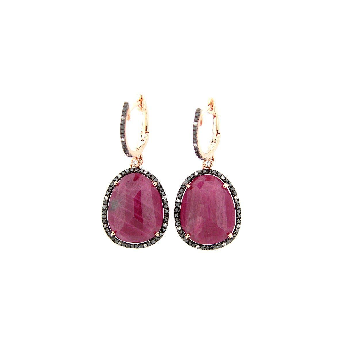 Rose Cut Ruby, Black & White Diamond Earring
